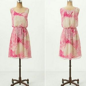 Postmark Rosy Plumes Dress Anthropologie size 00